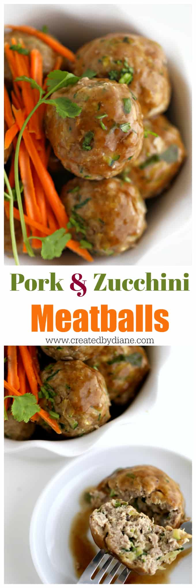 ground pork and zucchini low carb meatball recipe www.createdbydiane.com