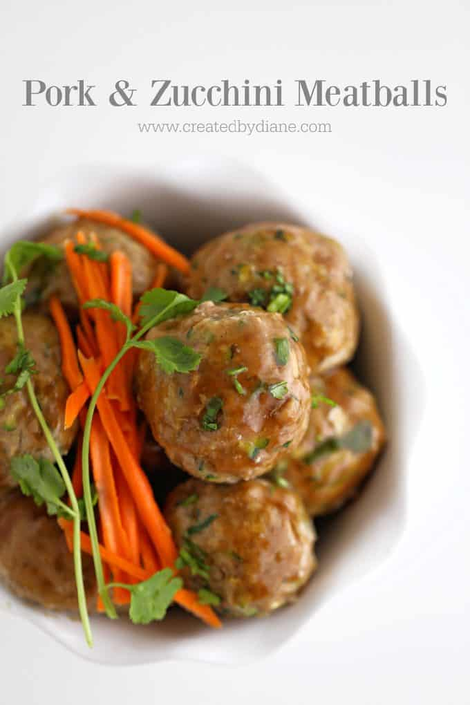 pork and zucchini meatballs www.createdbydiane.com