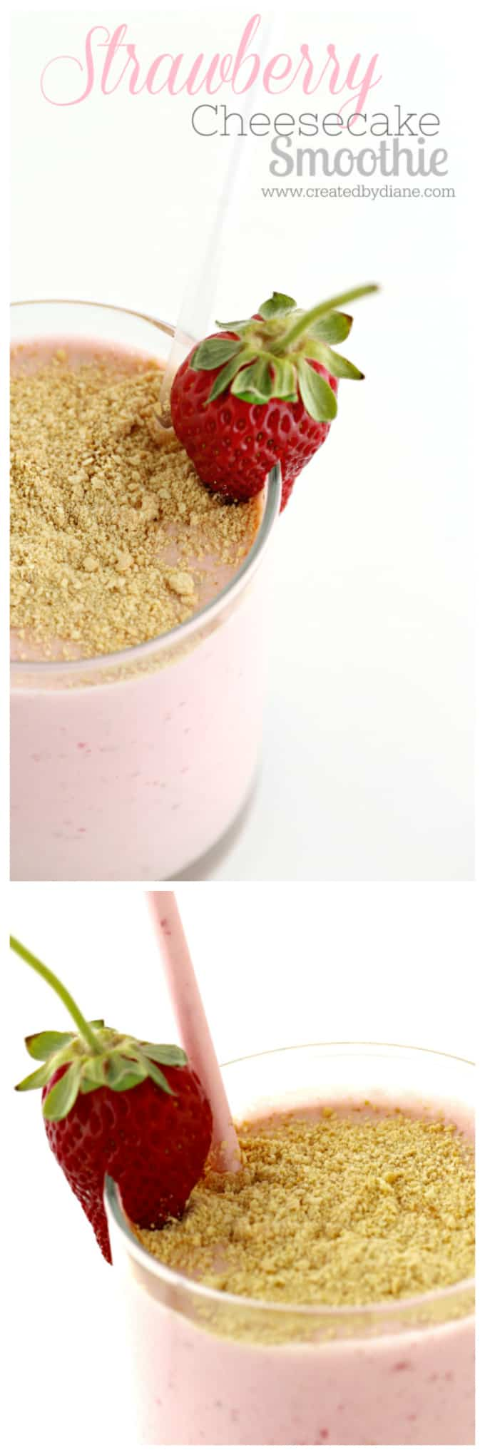 strawberry Smoothie #cheesecake #smoothie #strawberry www.createdbydiane.com