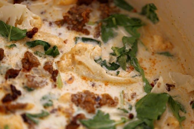 cauliflower zuppa toscano, low carb soup