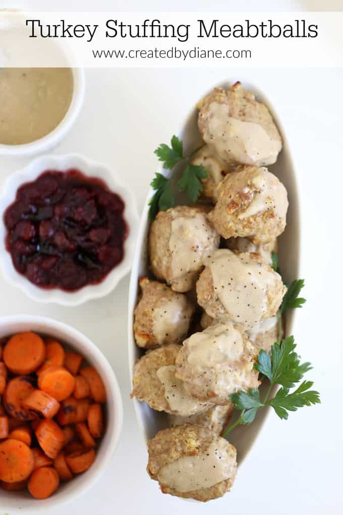 turkey and stuffing meatball dinner www.createdbydiane.com