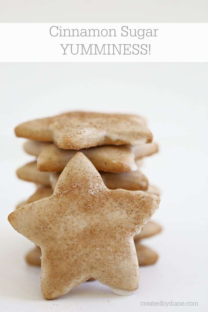 Cinnamon Sugar yumminess, cut out cookies with wonderful cinnamon flavor and then glazed and a dusting of cinnamon sugar on top! www.createdbydiane.com