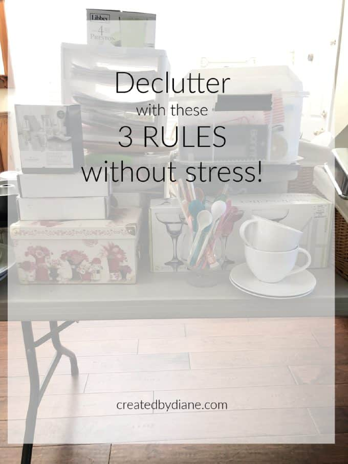 items stacked up for decluttering the house easily