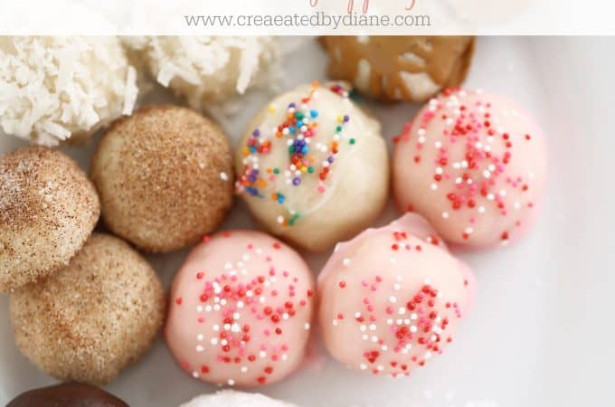 shortbread ball cookies with lots of toppings, recipe makes 40 cookies www.createdbydiane.com