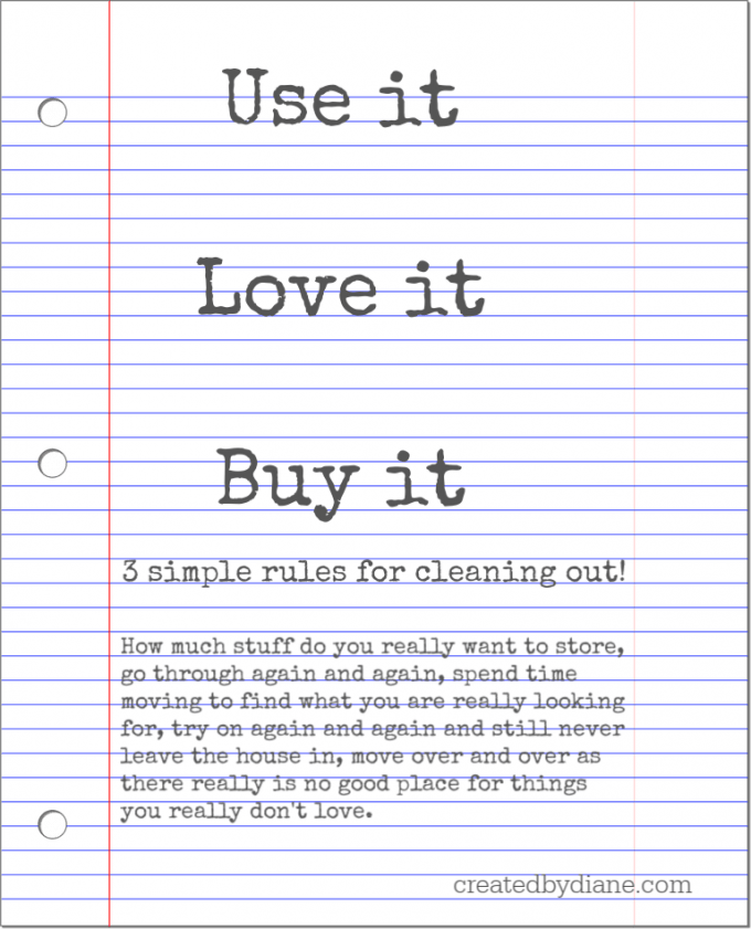 note on cleaning out house with 3 simple rules