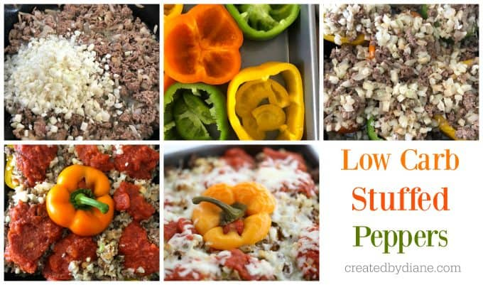 low carb stuffed peppers recipe createdbydiane.com