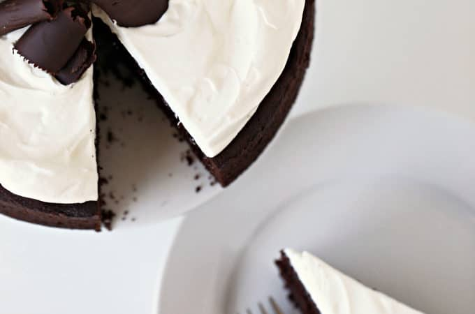 8-inch chocolate cake with stabilized whipped cream from www.createdbydiane.com