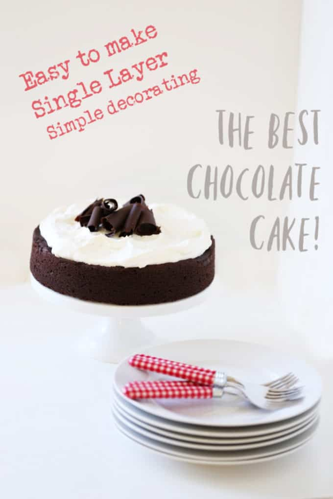 The BEST Chocolate Cake single layer easy to decorate createdbydiane.com
