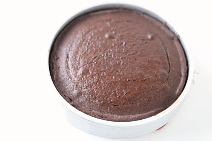 chocolate cake baked in an 8inch round cake pan