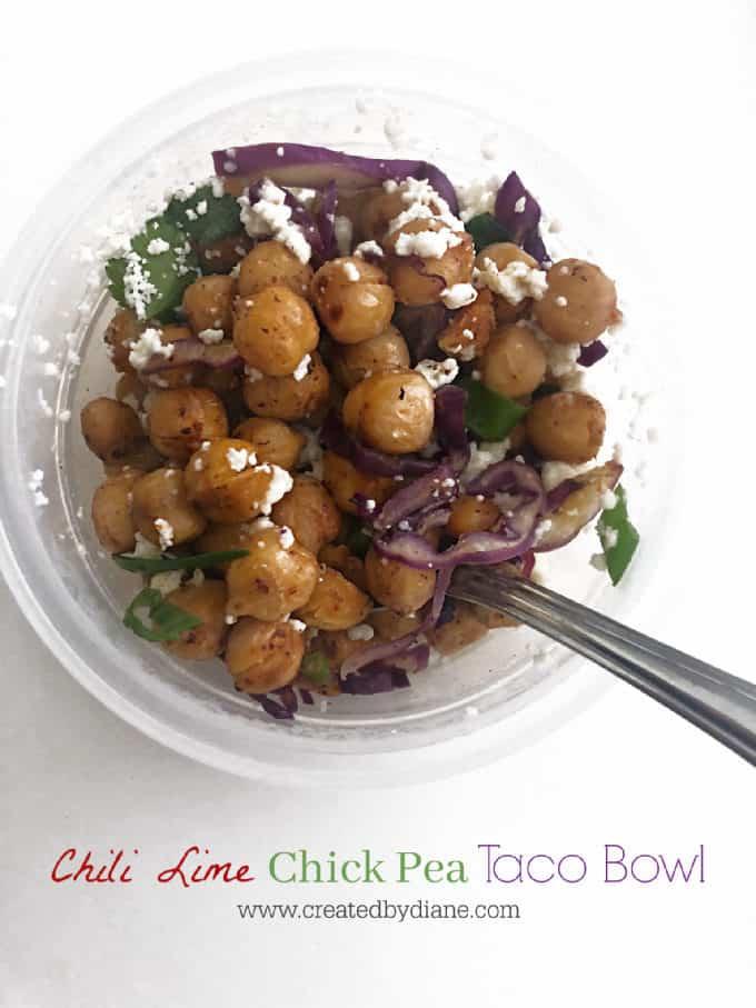 Chili Lime Chick Pea Taco Bowl www.createdbydiane.com