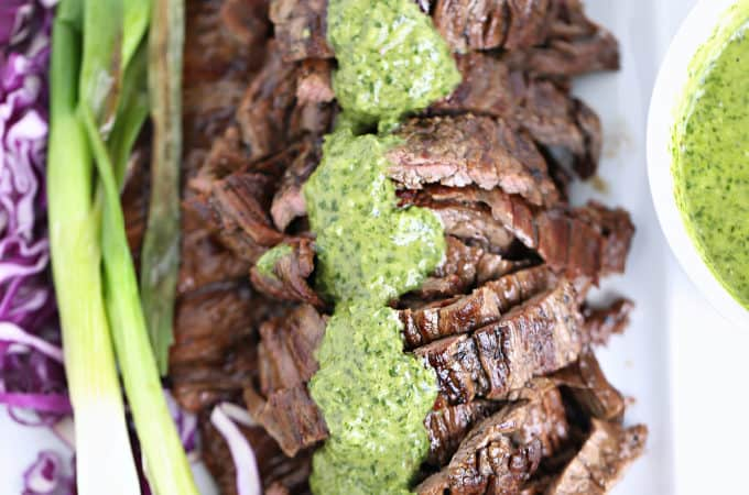 Easy Grilled Marinated Steak with Chimichurri Sauce Recipe www.createdbydiane.com