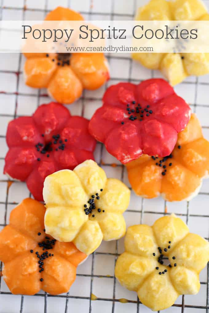 poppy spritz cookies www.createdbydiane.com