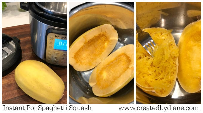 spaghetti squash cooked in the instant pot www.createdbydiane.com