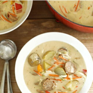 Creamy sausage pepper and onion soup www.createdbydiane.com