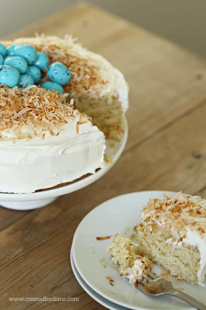 coconut cake, the perfect spring cake, easter cake, toasted coconut, robins egg