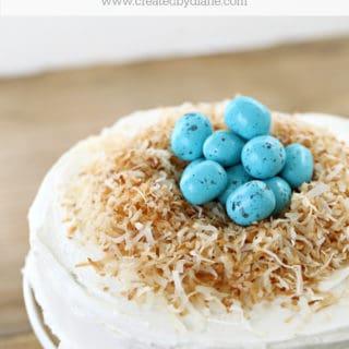 coconut cake with Robin egg nest www.createdbydiane.com