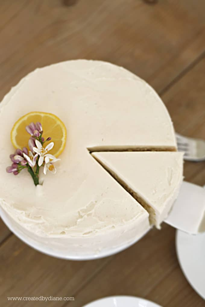 delicious moist lemon cake with lemon buttercream frosting, single layer, 8 inch round www.createdbydiane.com