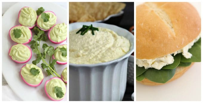 deviled eggs, egg salad, avocado deviled eggs