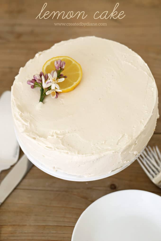 lemon cake, single layer, 8 inch round, easy, no mixer needed simple cake recipe www.createdbydiane.com