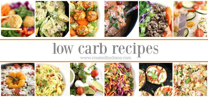 low carb recipes banner www.createdbydiane.com