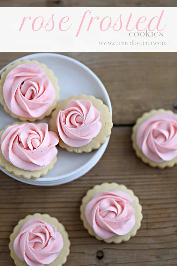 rose frosted cookies www.createdbydiane.com