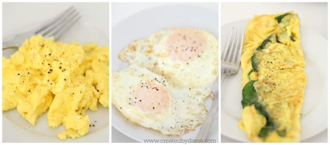 scrambled eggs, fried eggs, omelets www.createdbydiane.com