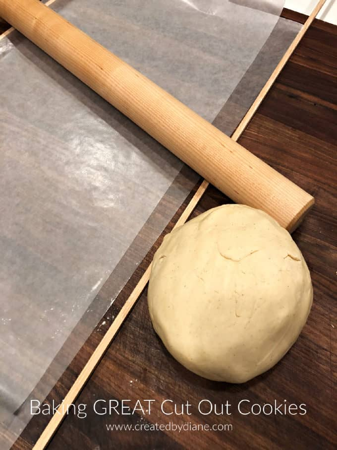 sugar cookie dough, wax paper, dowels, rolling pin www.createdbydiane.com