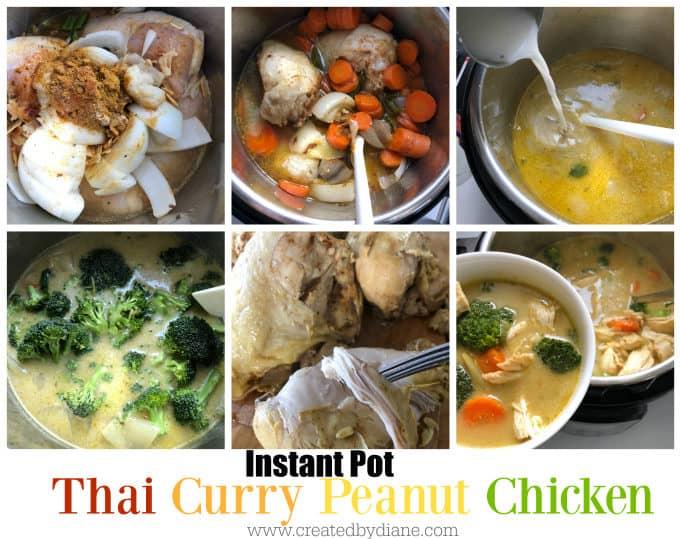Instant Pot Recipe Thai curry Peanut chicken www.createdbydiane.com