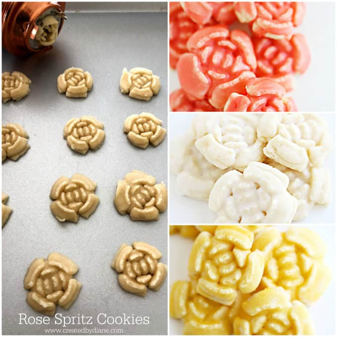 rose spritz cookies with mirror cookie press www.createdbydiane.com