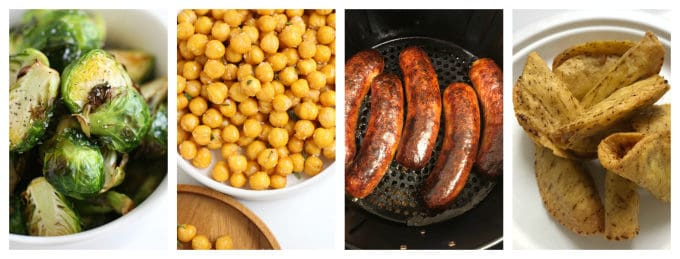 air fried foods you should not forget about brussels sprouts, chick peas, sausage, tacos www.createdbydiane.com