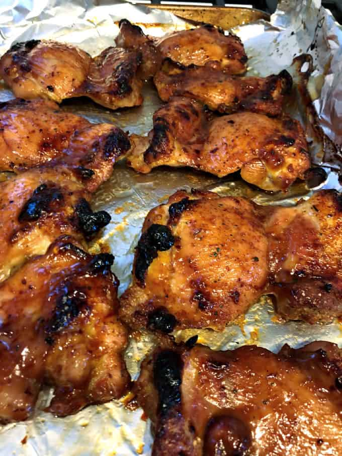 baked or grilled chicken thighs baked or grilled in a brown sugar soy marinade