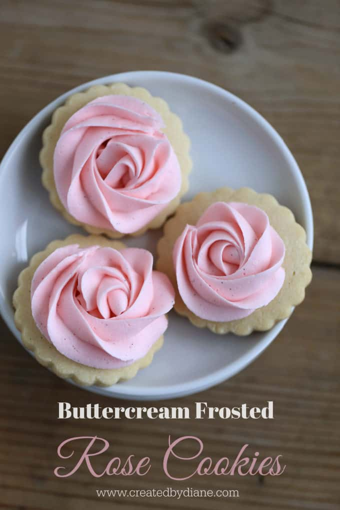 buttercream frosted rose cookies
