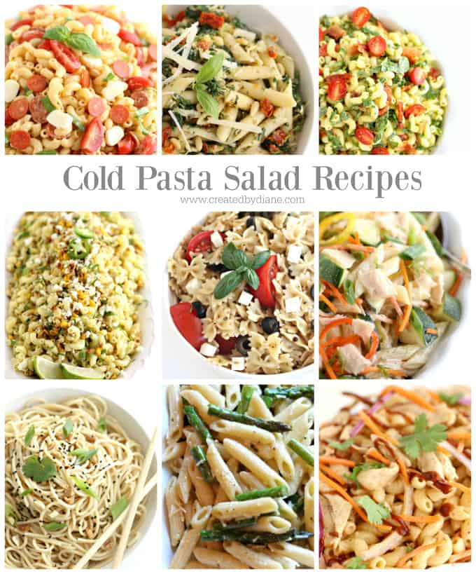 cold pasta salad recipes www.createdbydiane.com