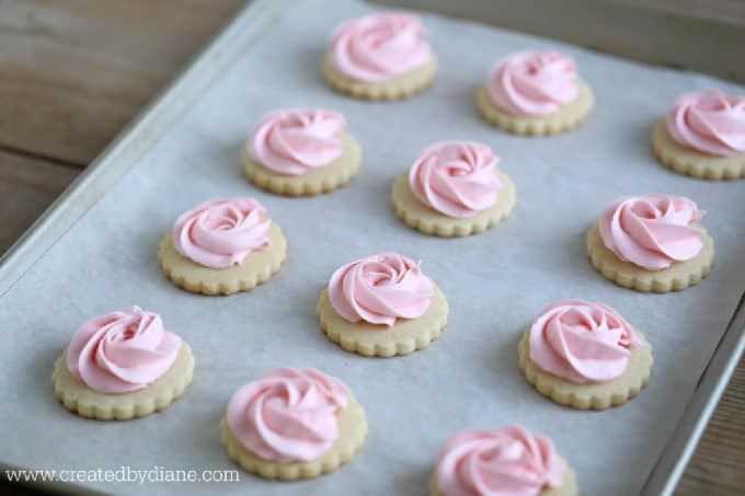 rose frosted scalloped sugar cookies www.createdbydiane.com