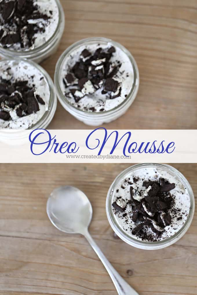 simple oreo mousse recipe from www.createdbydiane.com #oreo #nobake #mousse
