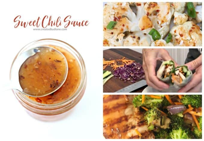 sweet chili sauce video with chicken spring rolls www.createdbydiane.com