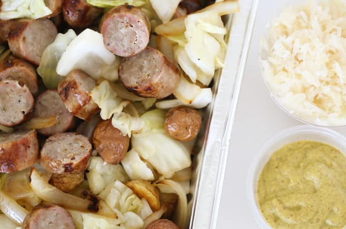 sausage potatoes cabbage and onions with mustard and sour kraut a fantastic party dish, covered dish, www.createdbydiane.com
