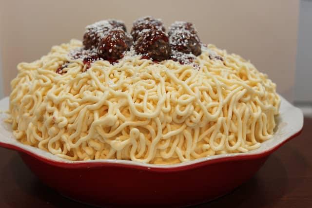 spaghetti and meatball cake www.createdbydiane.com