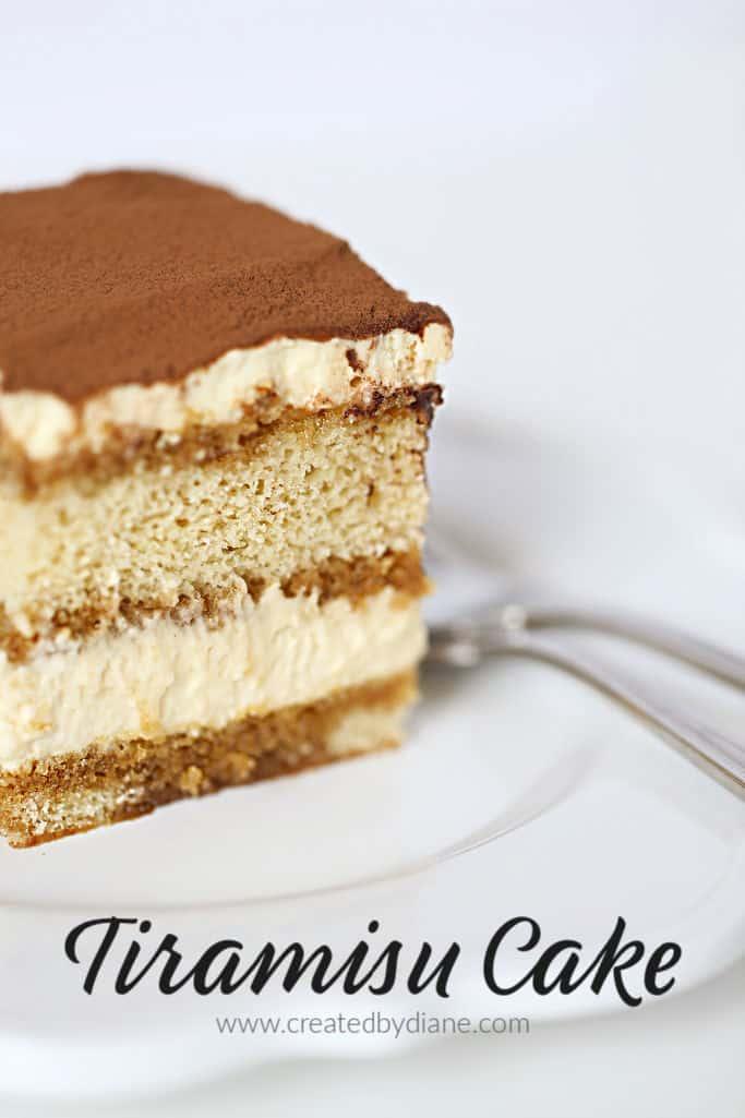 Tiramisu Cake no lady fingers needed, a delicious from scratch cake #italian #cake #tiramisu #coffee #custard www.createdbydiane.com