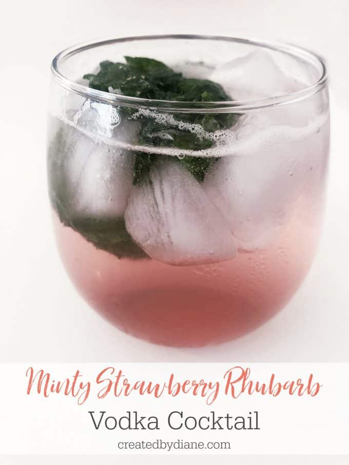 minty strawberry rhubarb vodka cocktail