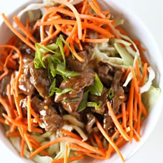Low Carb Beef Bowls, Bean Sprouts, Cabbage and Saucy Beef www.createdbydiane.com