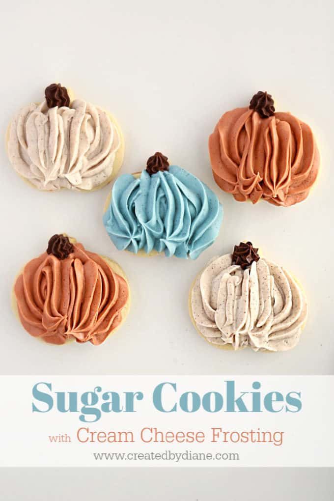 sugar cookie with frosting PUMPKINS cream cheese frosting www.createdbydiane.com