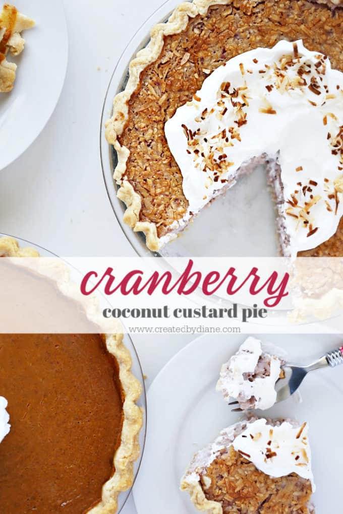 Holiday Pies-cranberry coconut custard pie from www.createdbydiane.com