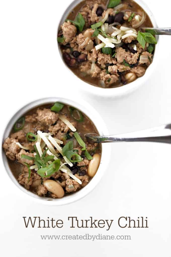 White turkey chili recipe from www.createdbydiane.com