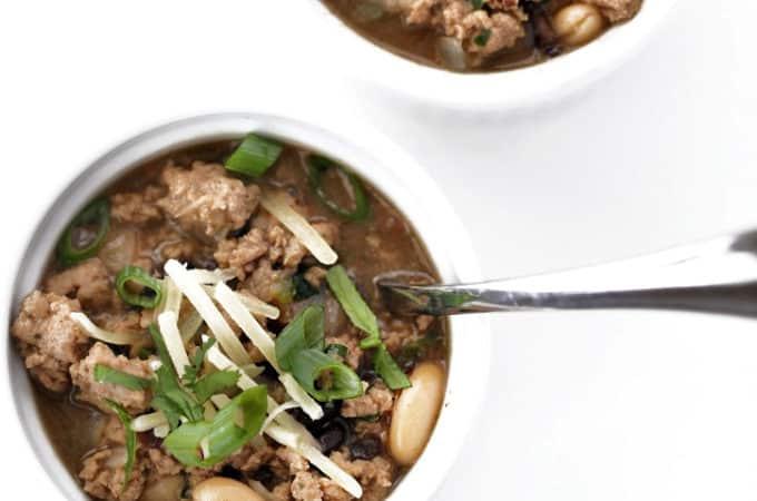 White turkey chili recipe from www.createdbydiane.com