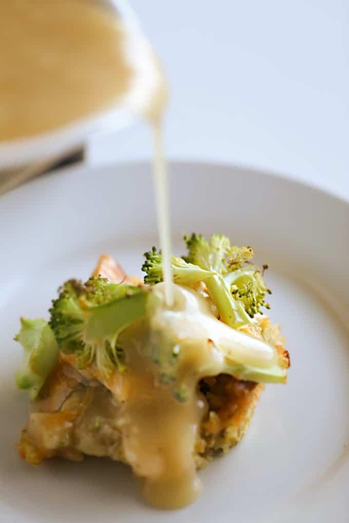 gravy dripping on turkey broccoli casserole