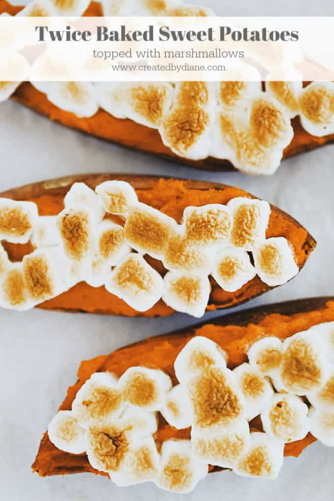 twice baked sweet potatoes with marshmallows www.createdbydiane.com