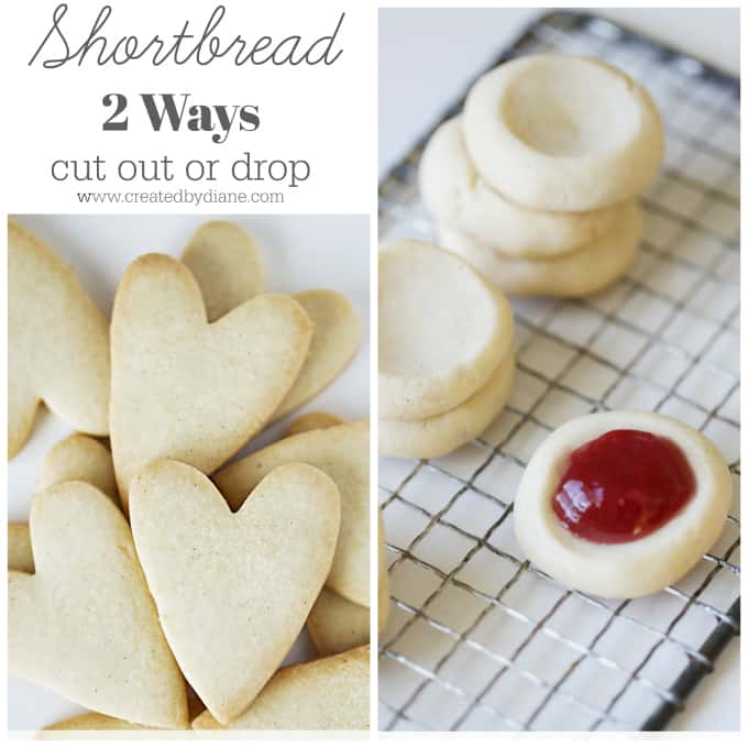 Shortbread Cookies 2 ways cut out or drop cookies www.createdbydiane.com