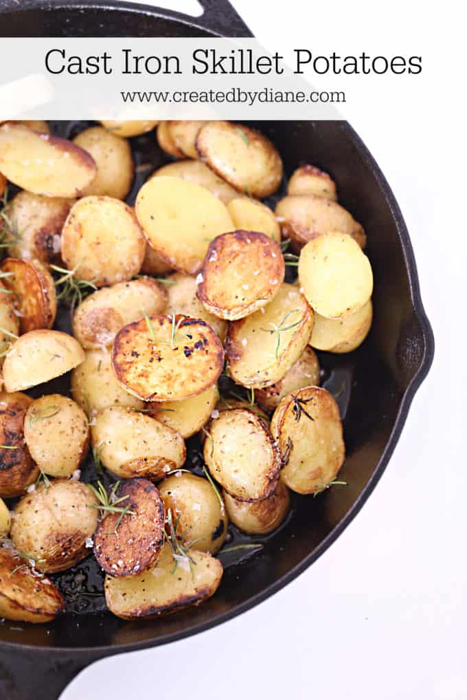 cast iron roasted potatoes with garlic and rosemary www.createdbydiane.com