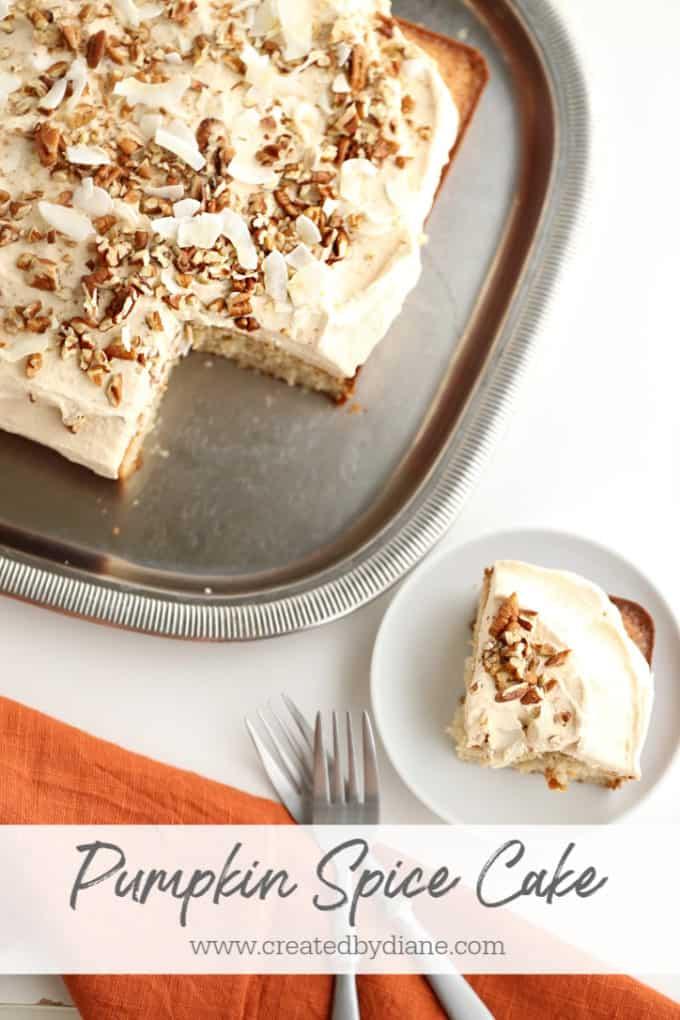 pumpkin spice whipped cream topped pumpkin spice sheet cake www.createdbydiane.com